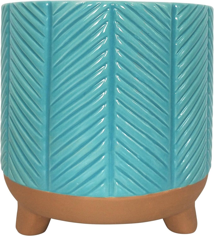 Zari Planter Turquoise Lg 18cm