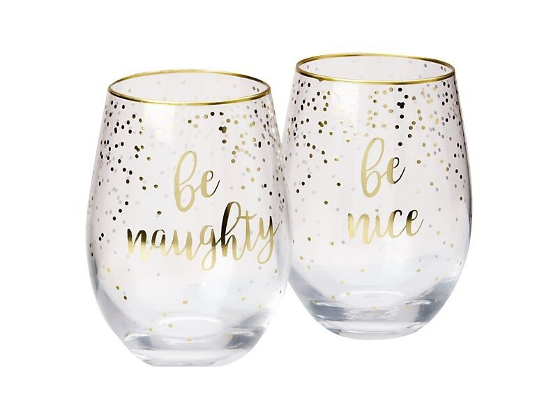 Celebrations Stemless Glass Set of 2 Naughty Nice