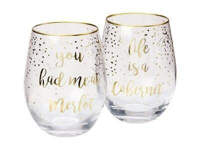 Celebrations Stemless Glass Set of 2 Cabernet Merlot