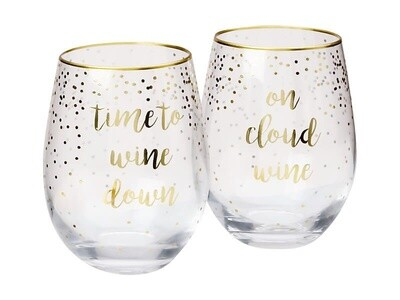 Celebrations Stemless Glass Set of 2 Cloud Time