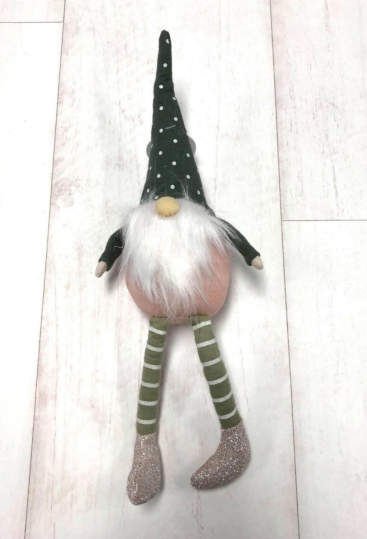 Fabric Dangle Leg Gnome Pink