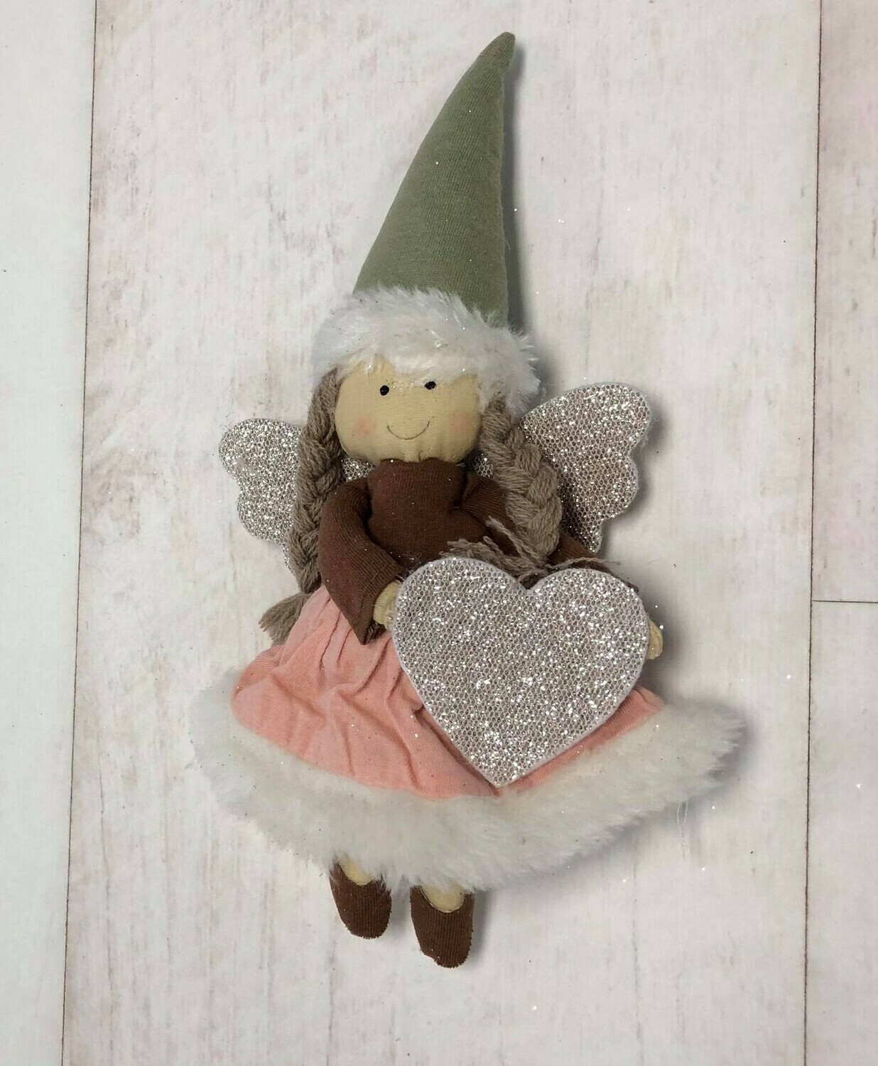 Fabric Angel With Heart Hanger Pink