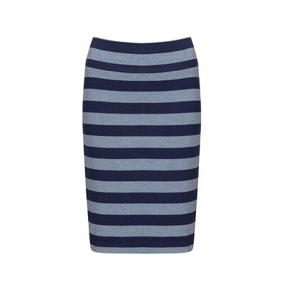 Midi Whitney Tube Skirt Indigo & Denim Stripe