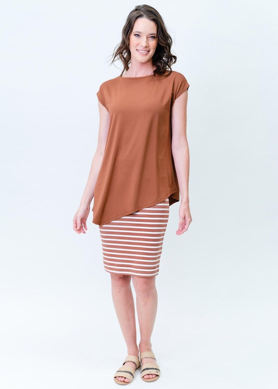 Midi Whitney Tube Skirt Toffee & White Stripe