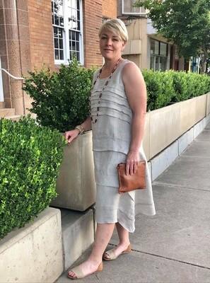 Layered Pleat Dress Natural