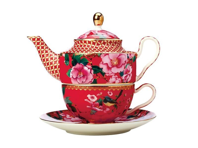 Teas & C's Silk Road Tea for One with Infuser 380ML Cherry Red