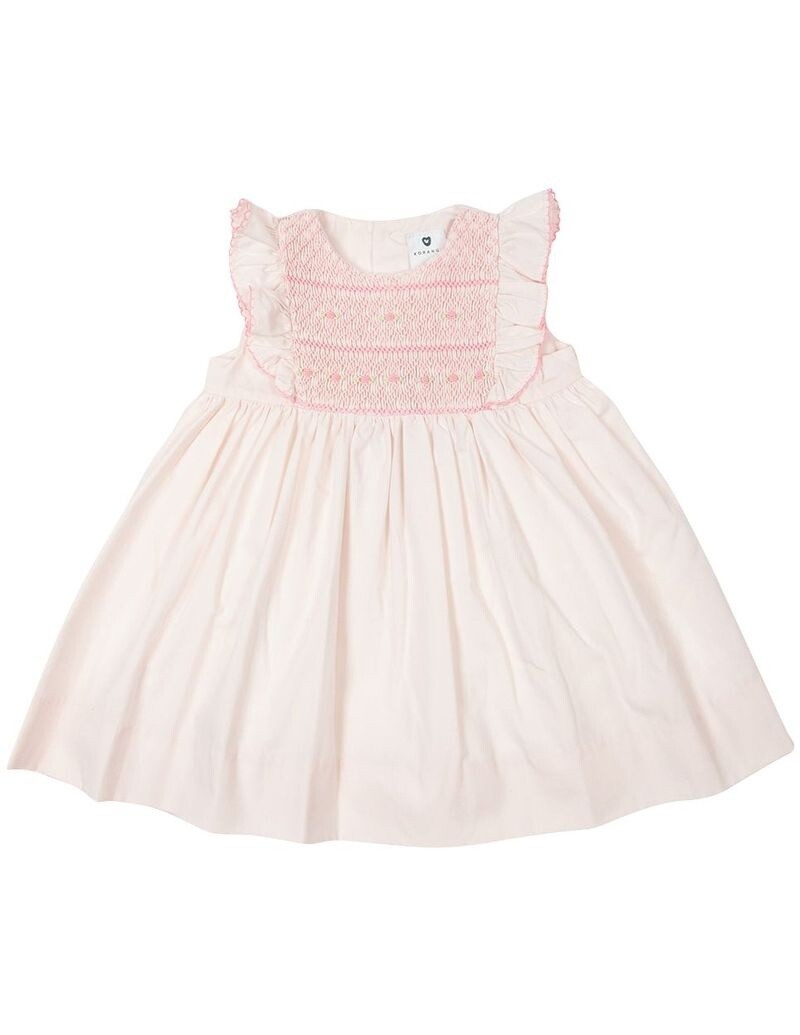 Smocked/Embroidered Dress - Pink
