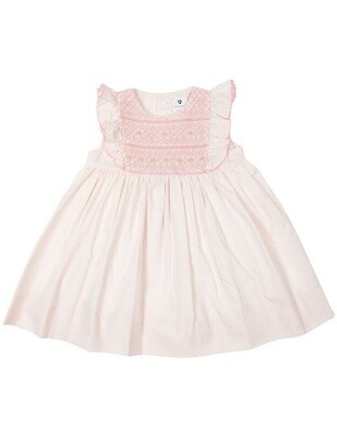 Smocked/Embroidered Dress - Pink