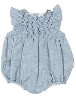 Vintage Girl Smocked Sunsuit - Blue
