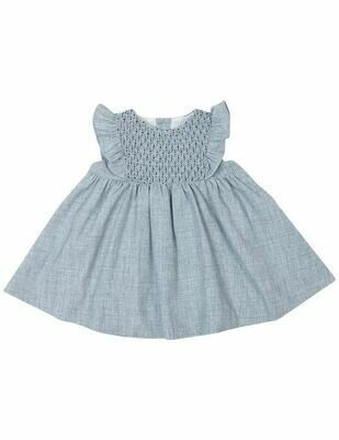 Vintage Girl Smocked Dress - Blue