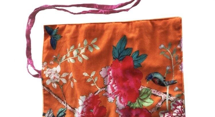 Velvet Jewellery Roll Orange Bird