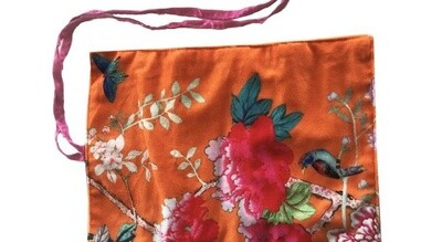 Velvet Jewellery Roll Orange Bird