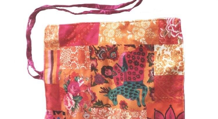 Velvet Jewellery Roll Tangerine Patchwork