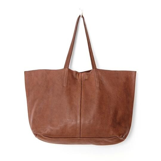 Unlined Leather Tote Cognac