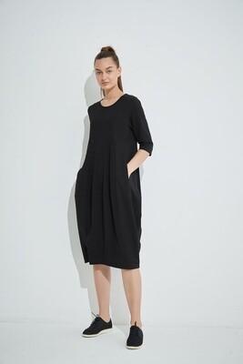 Diagonal Seam Dress Black
