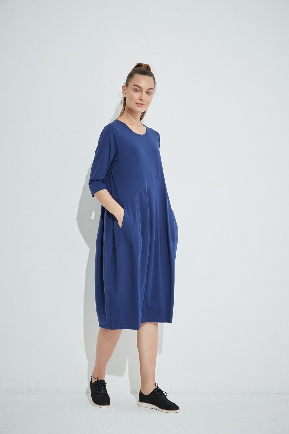Diagonal Seam Dress Navy