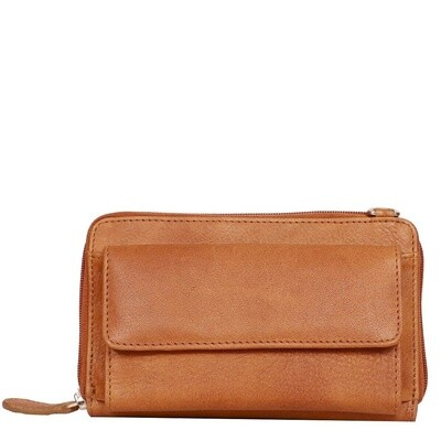 Crossbody Bag Washed Leather Tan