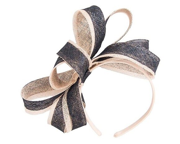 Navy & Nude Loops Fascinator