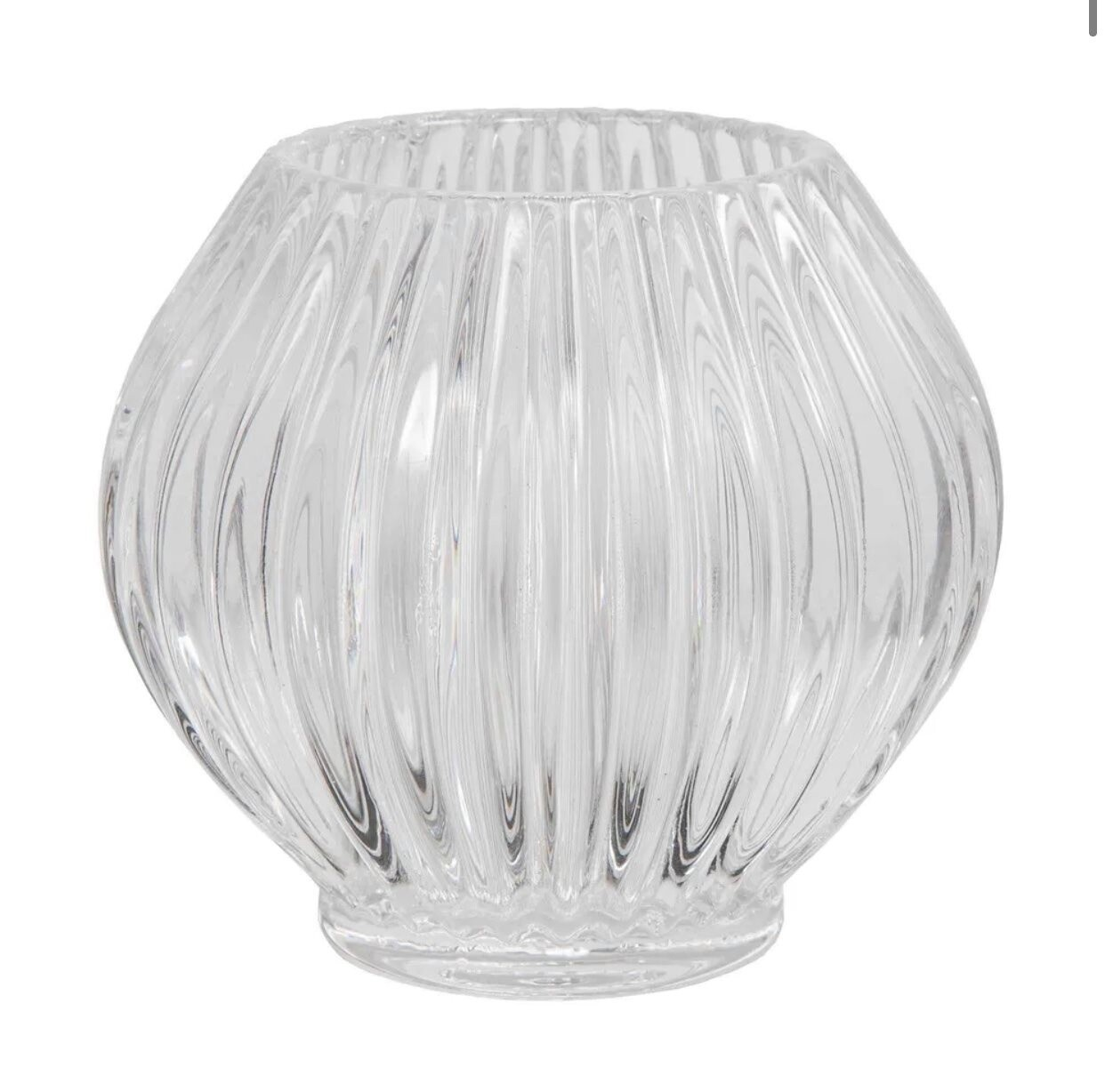 Ridged Glass Tealight Round Clear