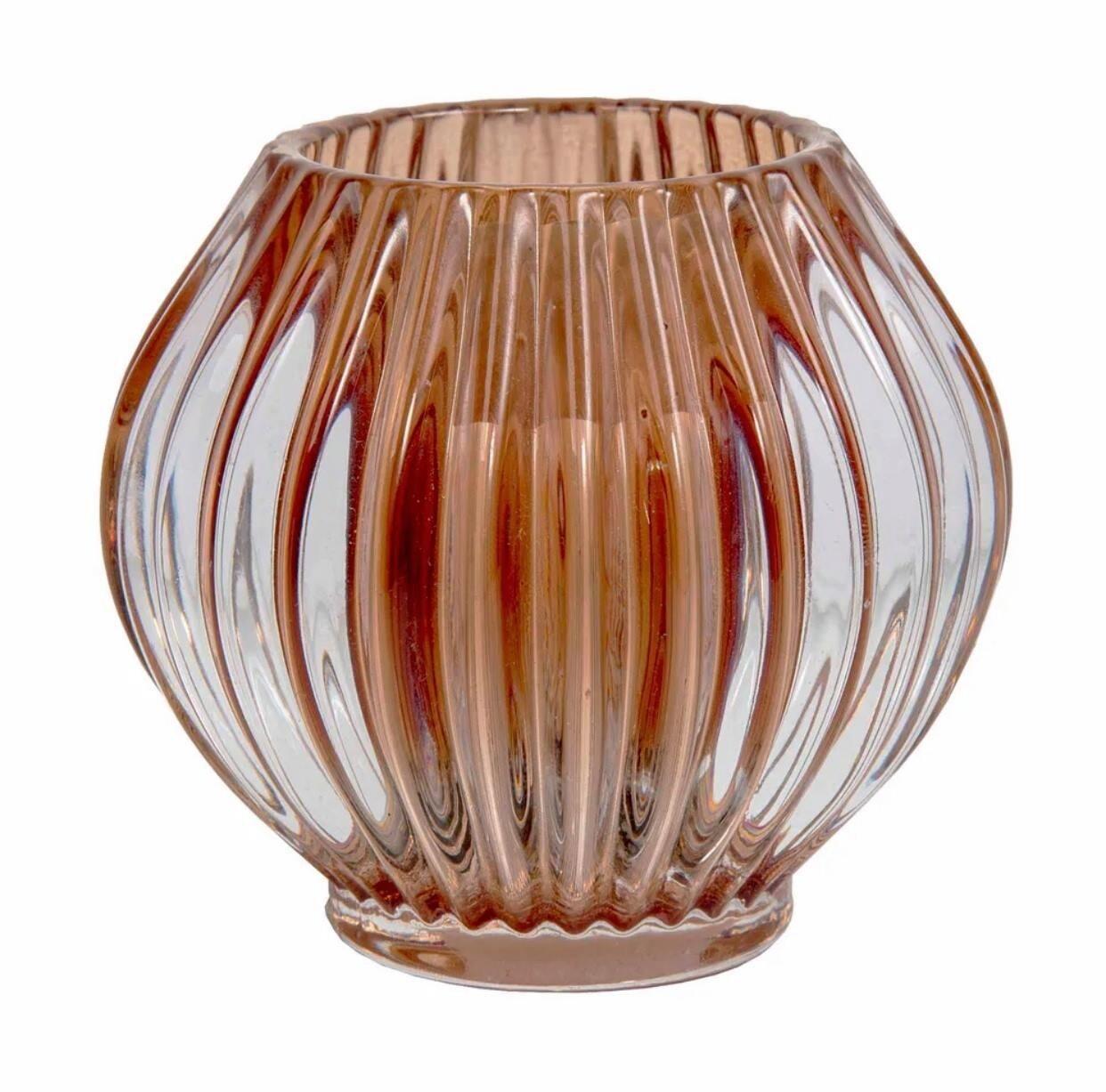 Ridged Glass Tealight Round Terracotta
