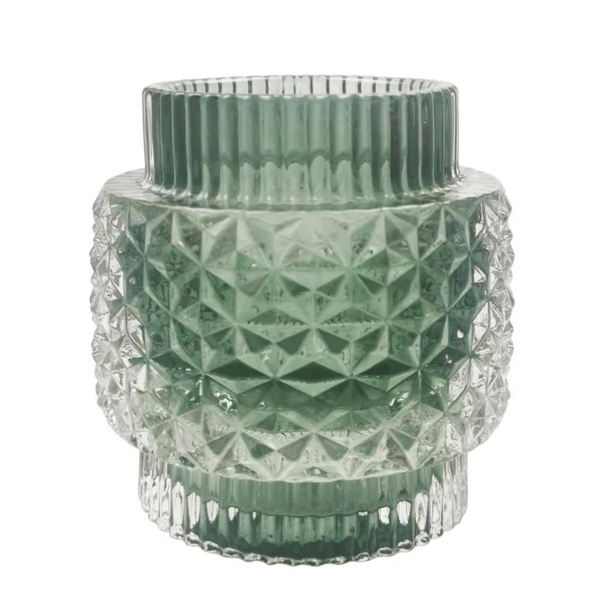 Crease Glass Tealight Large Green