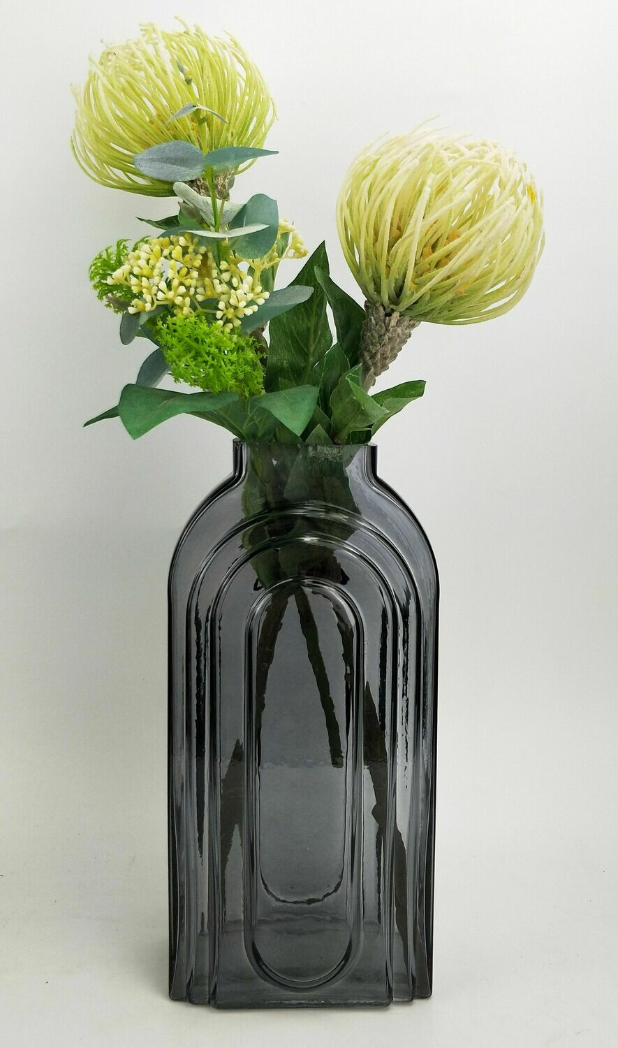 Tommy Tall Glass Steel Vase Large
