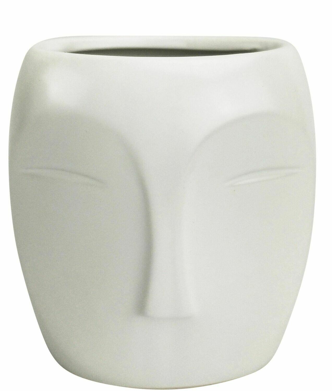 Aztec Face Vase White Small