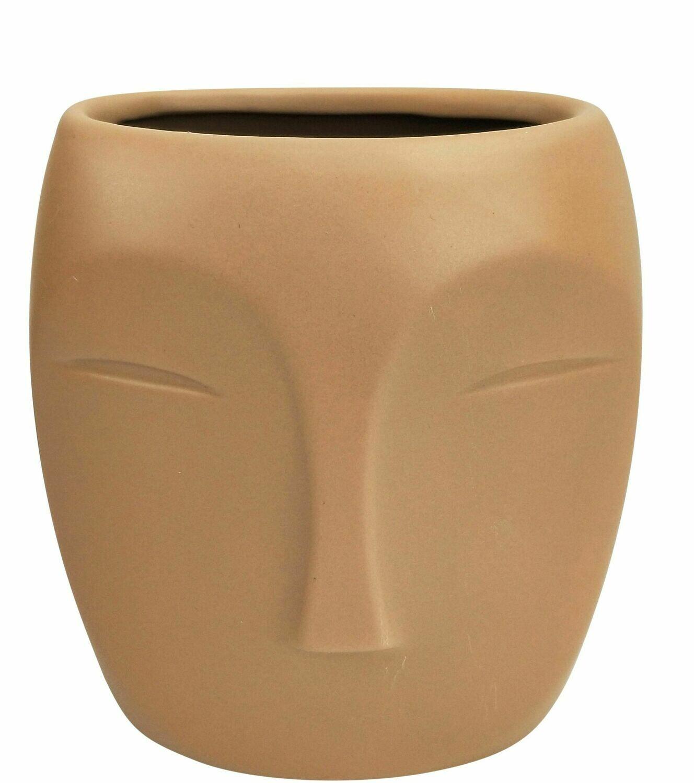 Aztec Face Vase Beige Small