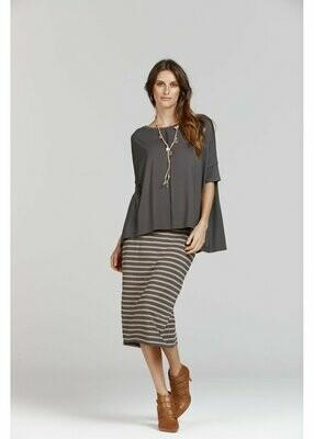 Long Whitney Tube Skirt Nougat & Steel Stripe