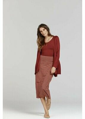 Long Whitney Tube Skirt Nougat & Wine Stripe