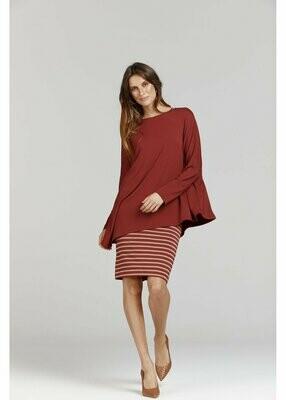 Midi Whitney Tube Skirt Nougat & Wine Stripe