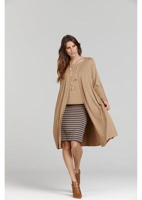 Midi Whitney Tube Skirt Nougat & Steel Stripe