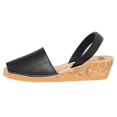 Avarcas Black Leather Wedge