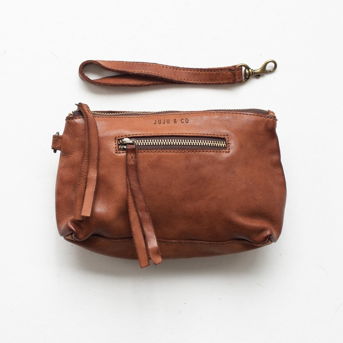 Small Leather Essential Pouch Cognac