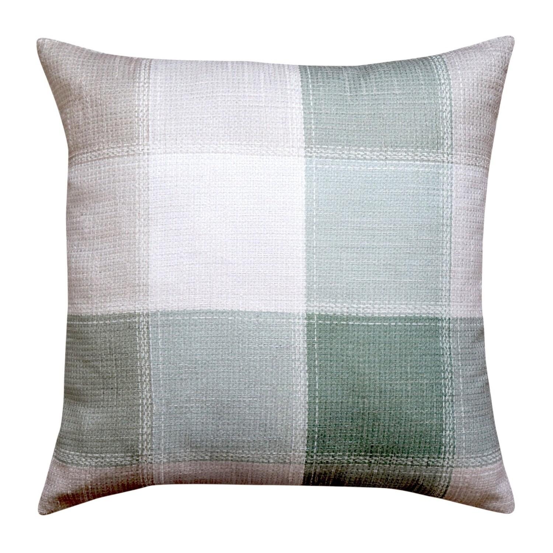 Green Check Natural Cushion 50cm