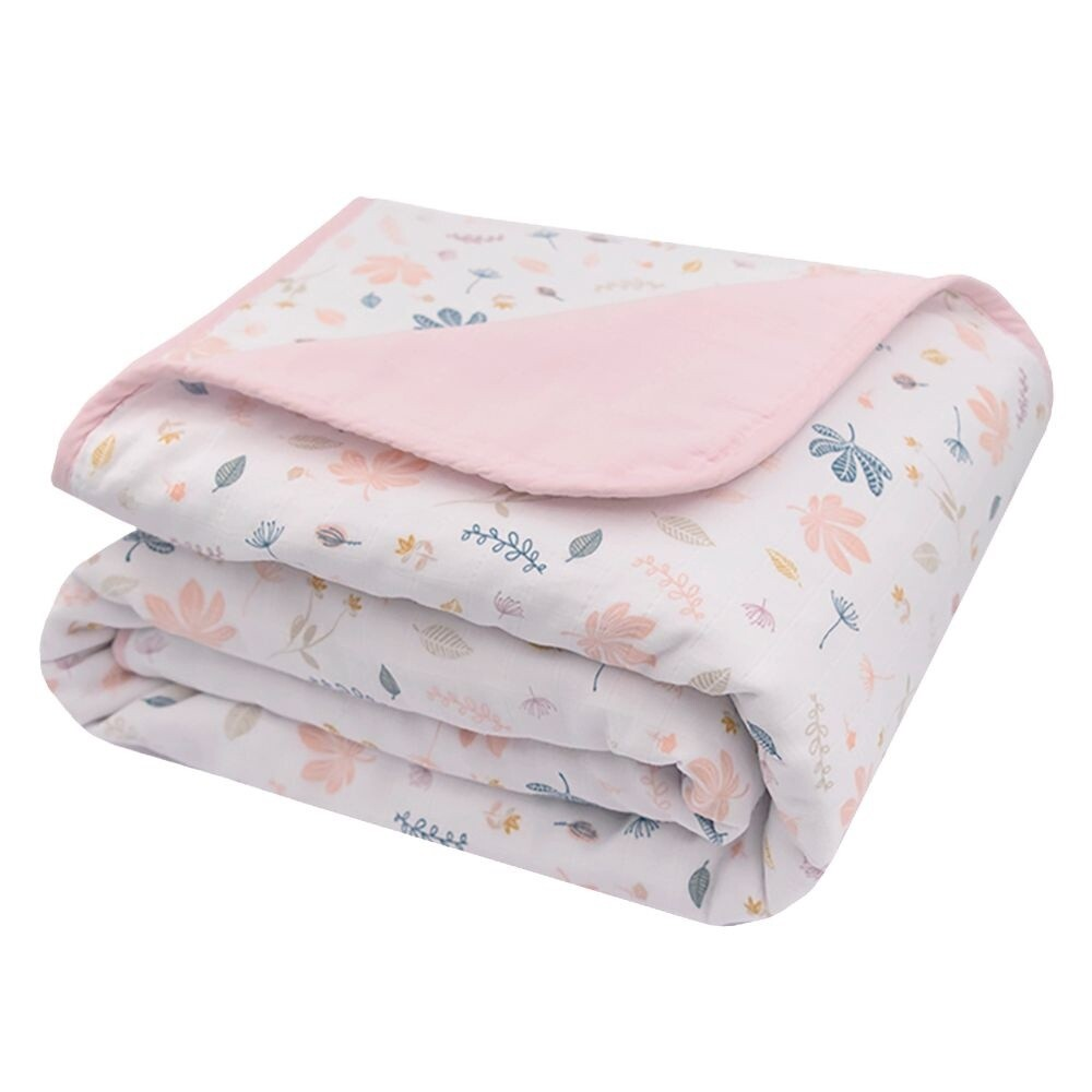 Organic Muslin Pram Blanket - Botanical