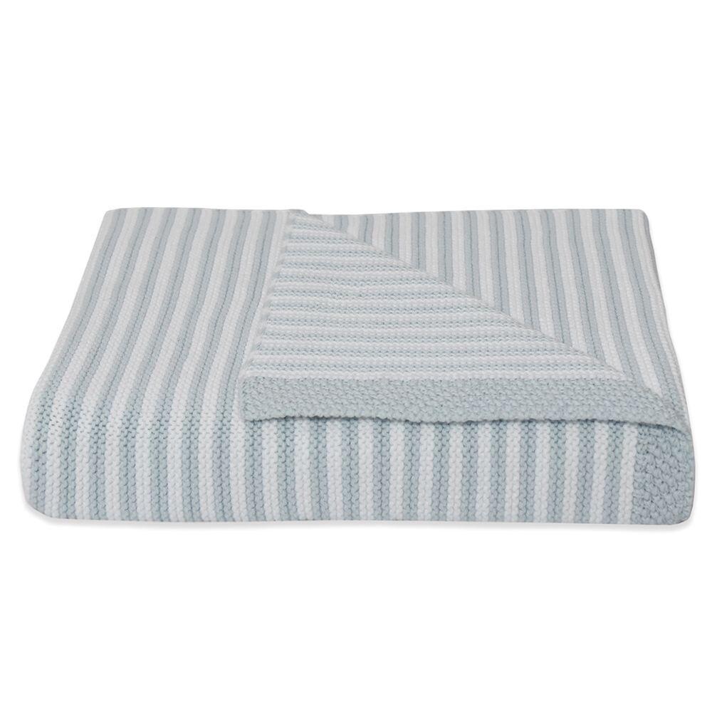 Knitted Stripe Blanket - Blue/White