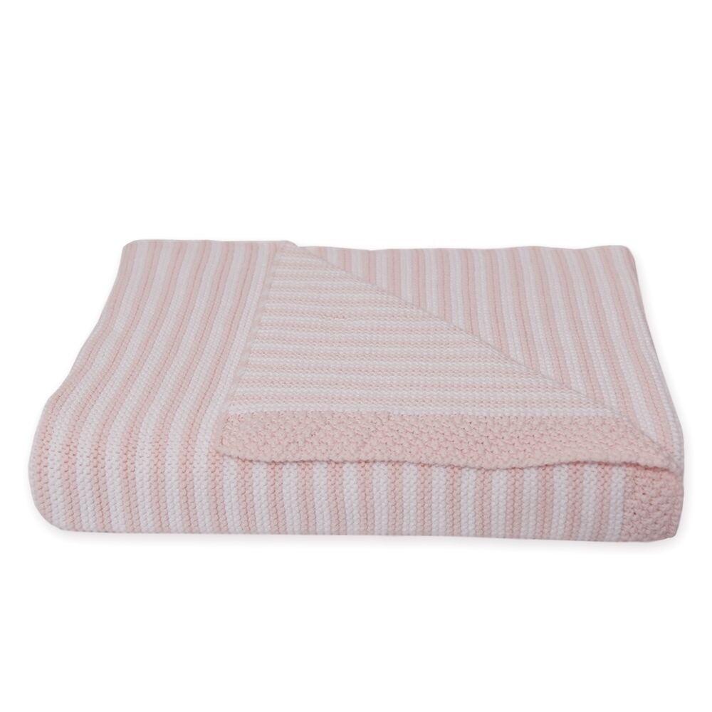 Knitted Stripe Blanket - Pink/White
