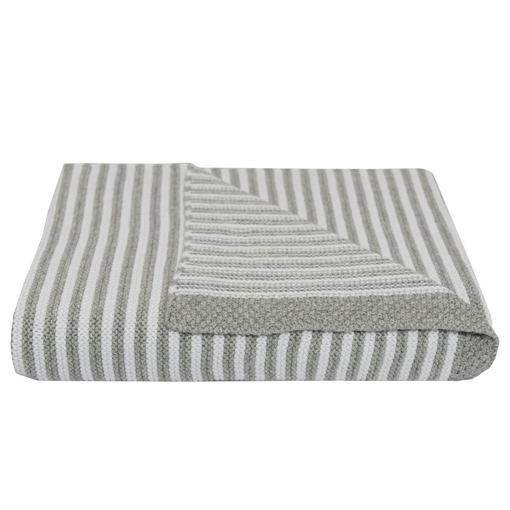 Knitted Stripe Blanket - Grey/White