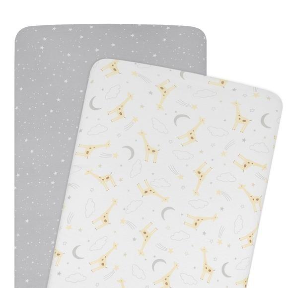 Bassinet Fitted Sheet Set - Noah & Grey Stars