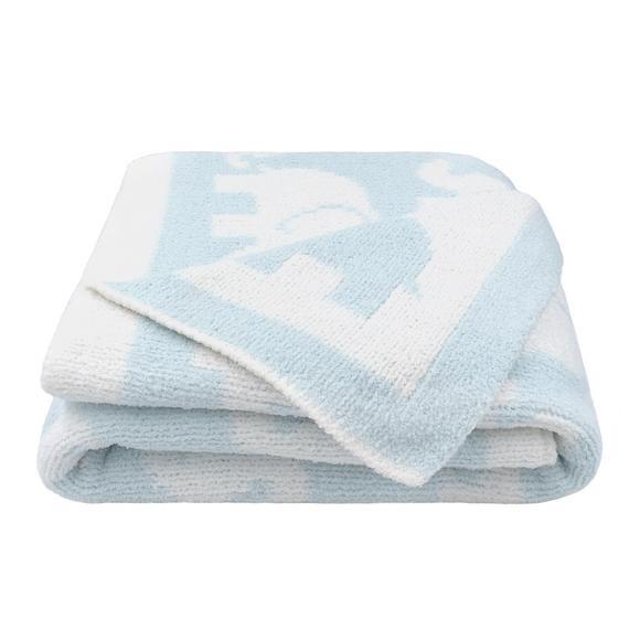 Chenille Pram Blanket - Blue Elephant