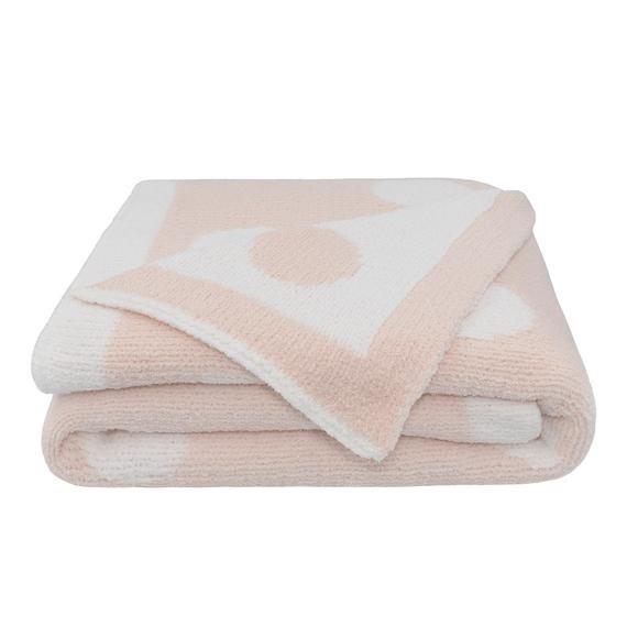 Chenille Pram Blanket - Pink Dots