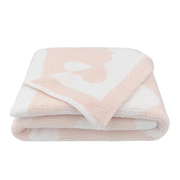 Chenille Pram Blanket - Pink Hearts