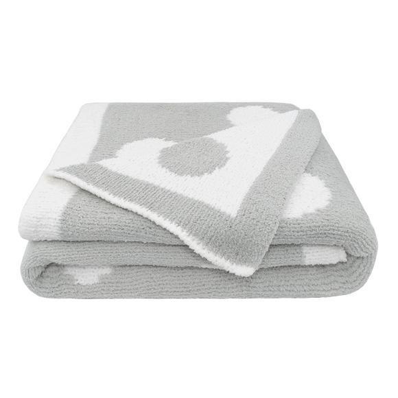 Chenille Pram Blanket - Grey Dots