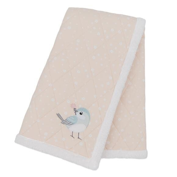 Jersey Quilted Sherpa Blanket - Ava Birds