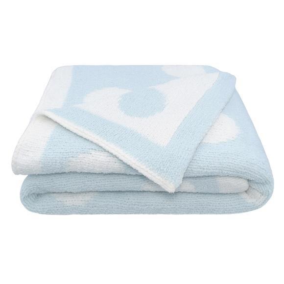 Chenille Pram Blanket - Blue Dots