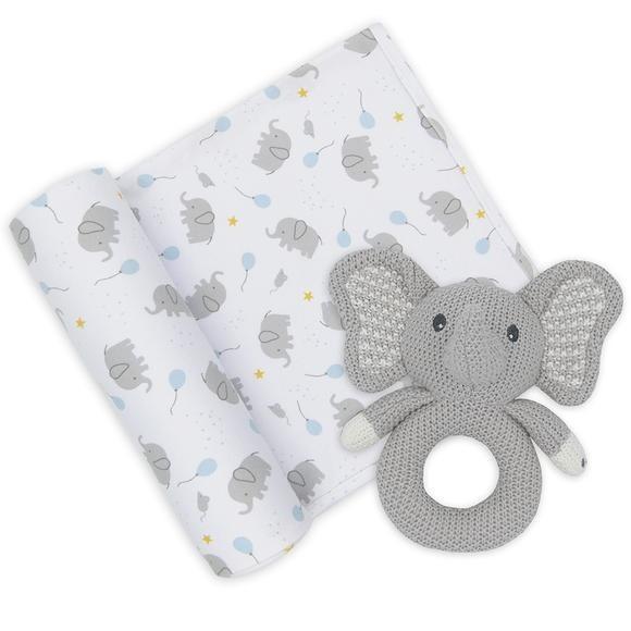 Jersey Swaddle & Rattle - Mason/Elephant
