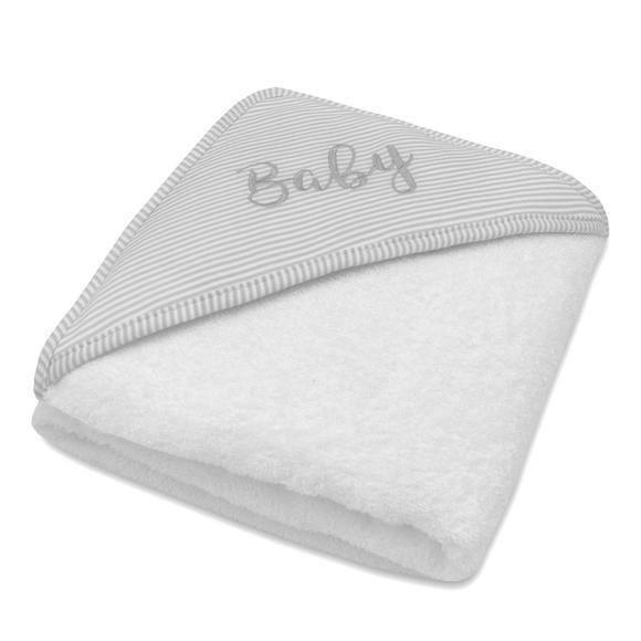 Hooded Towel - Grey Stripe