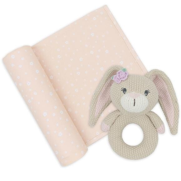 Jersey Swaddle & Rattle - Floral/Bunny