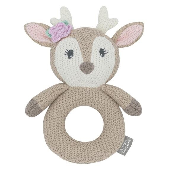 Knitted Ring Rattle - Ava The Fawn